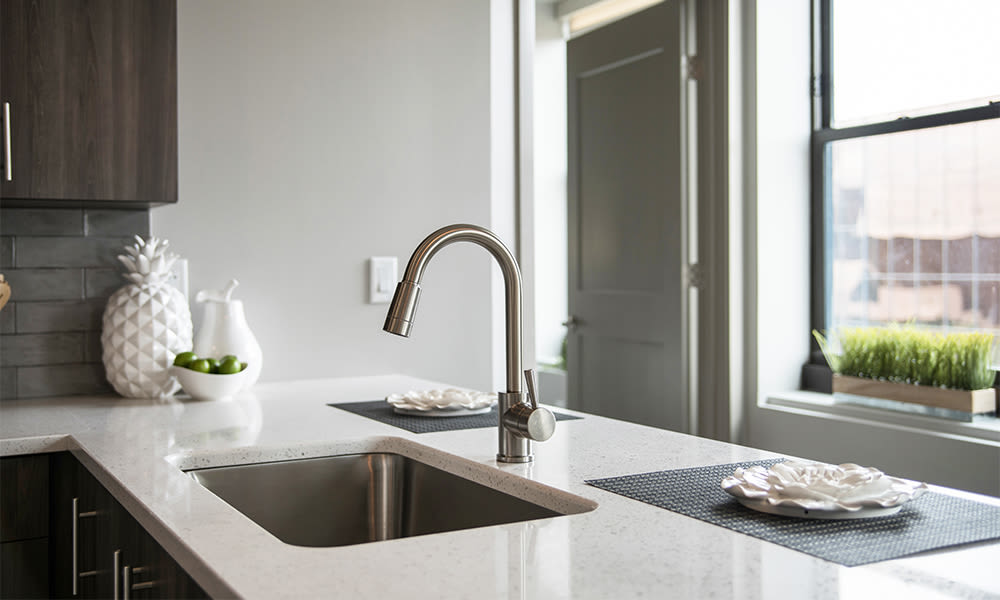 Naturally well-lit kitchen at apartments in Rochester, New York