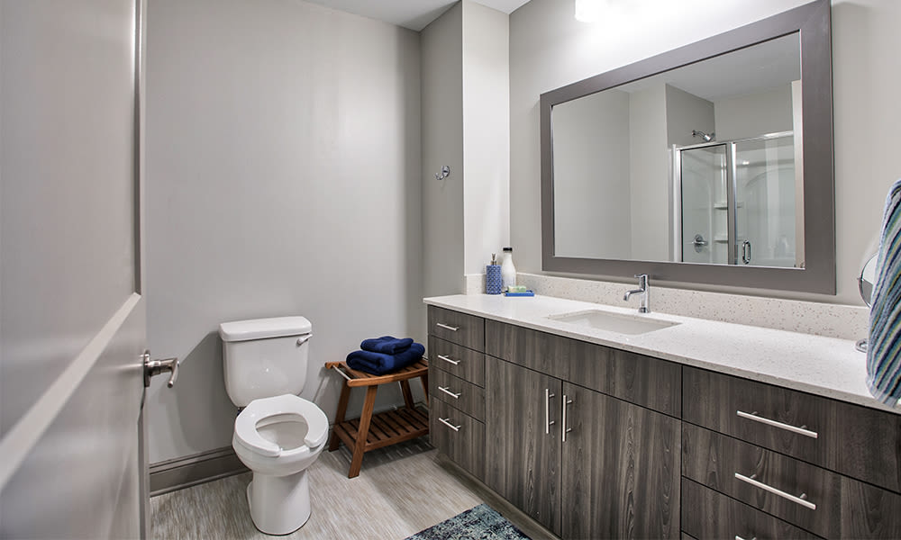 Spacious bathroom at apartments in Rochester, New York