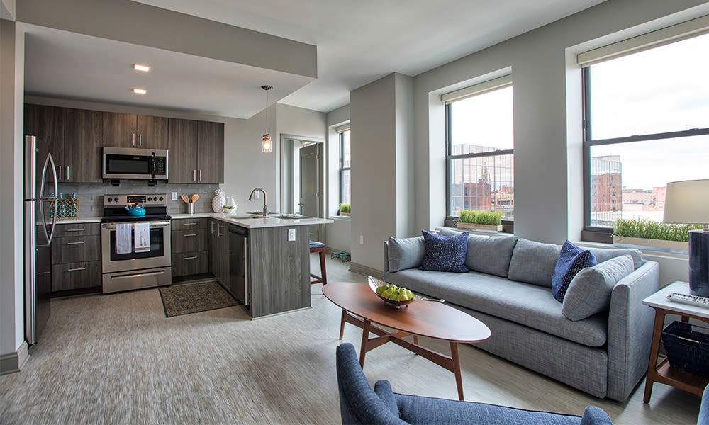Cozy living room at apartments in Rochester, New York