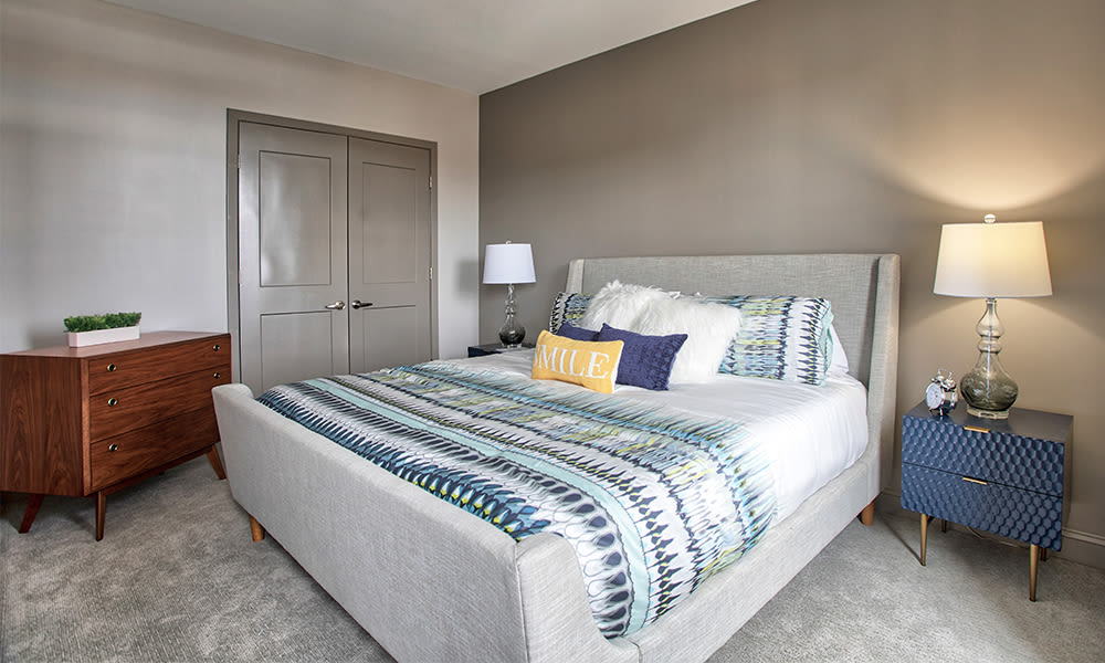 Bedroom at apartments in Rochester, New York