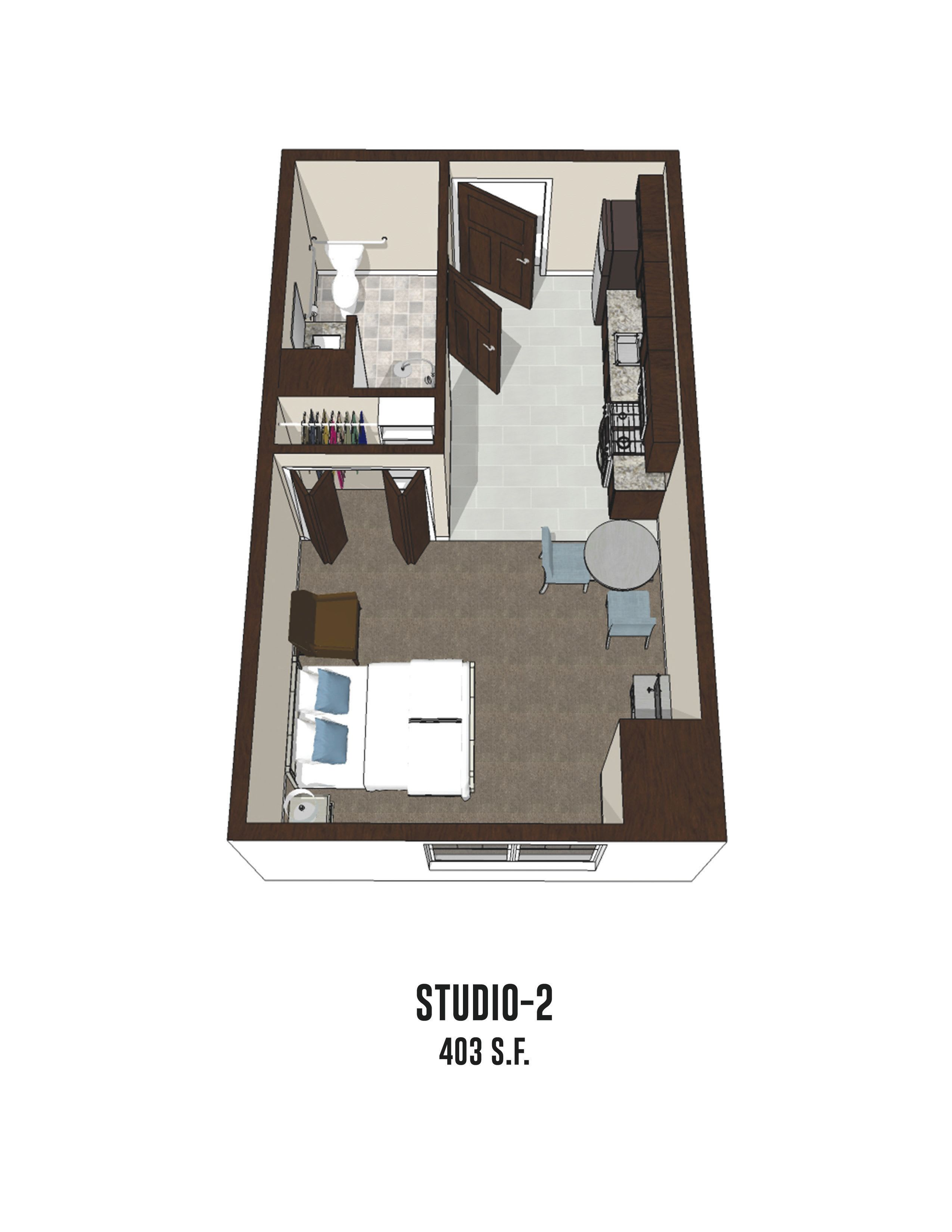 Independent living Studio 2 is 403 square feet at Byron Center in Byron Center, Michigan.