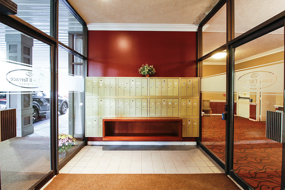 Entrance at apartments in Rochester, New York