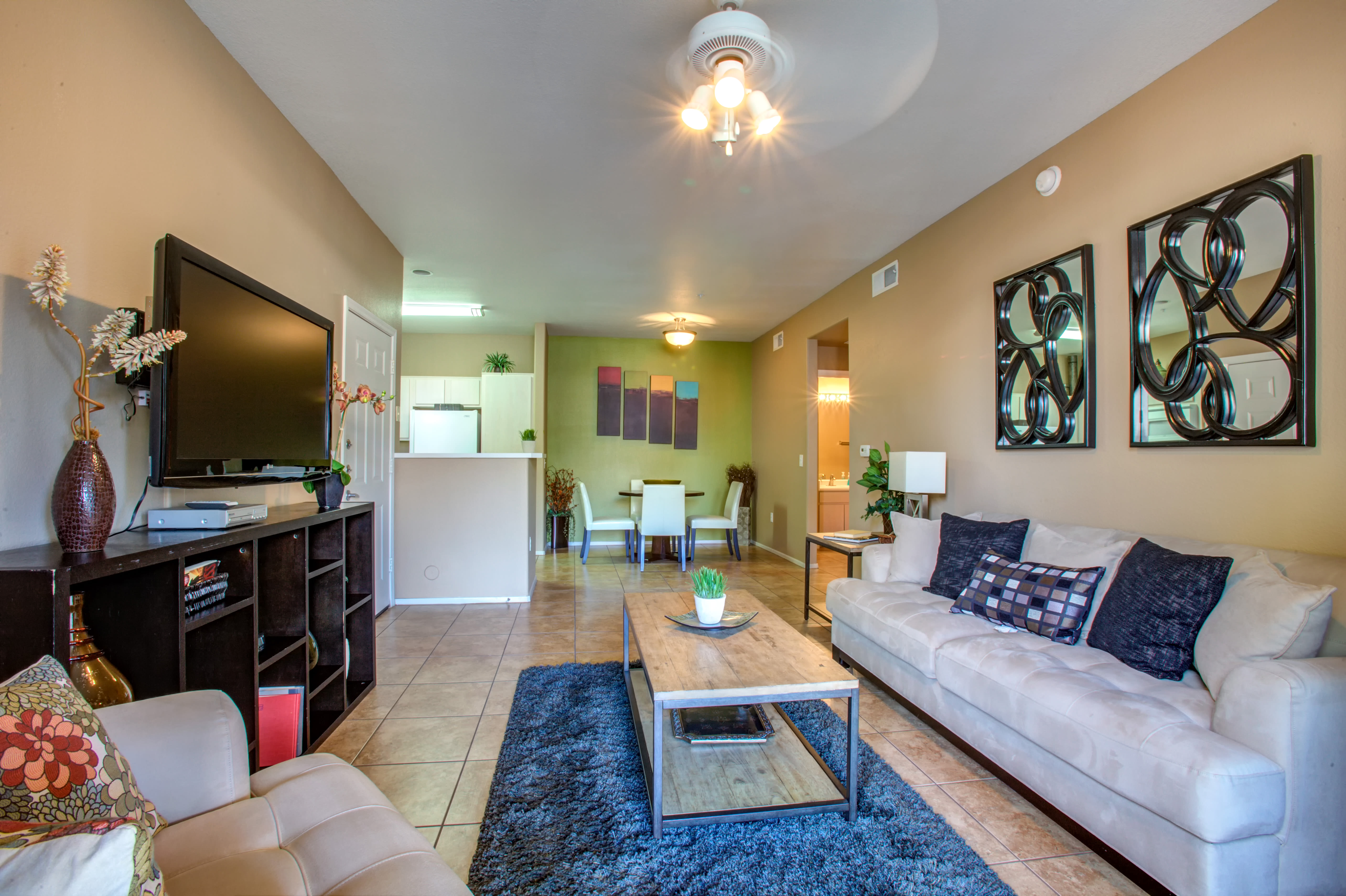 Well-appointed living area of model home at Sierra Canyon in Glendale, Arizona