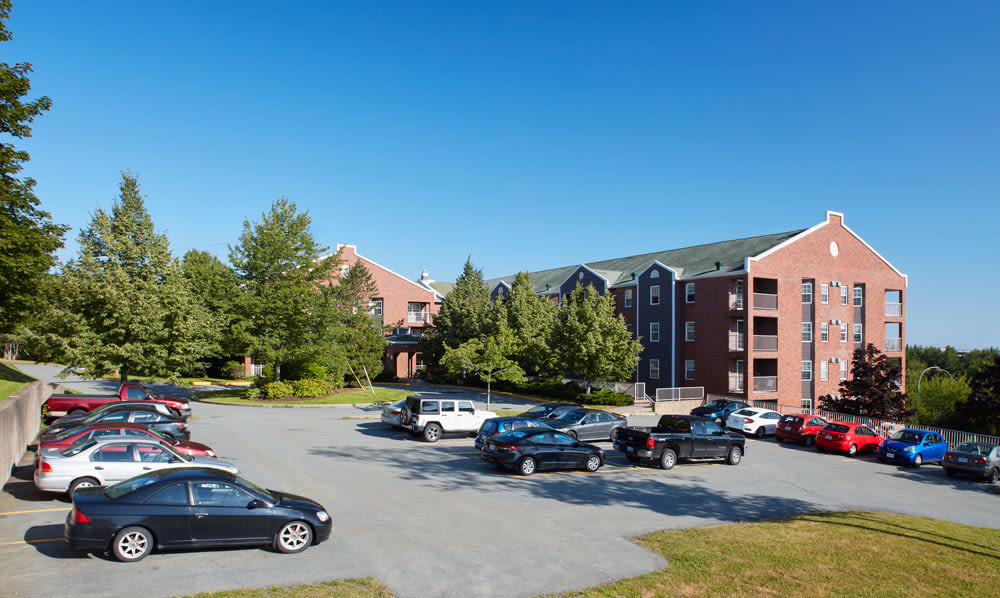 Spacious parking lot at StoneCrest Village in Halifax, NS