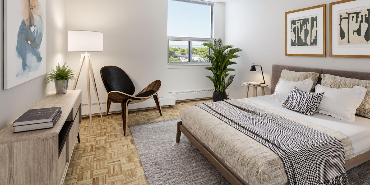 Modern bedroom at MacDonald Apartments in Halifax, Nova Scotia