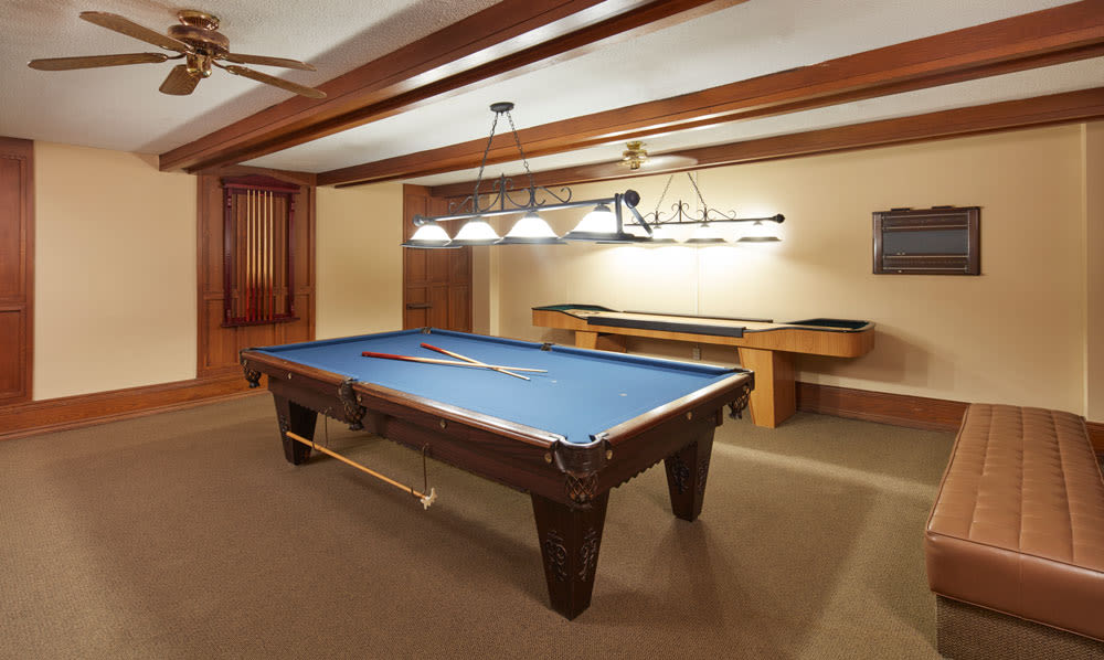 Pool table at Widdicombe Place in Etobicoke, ON
