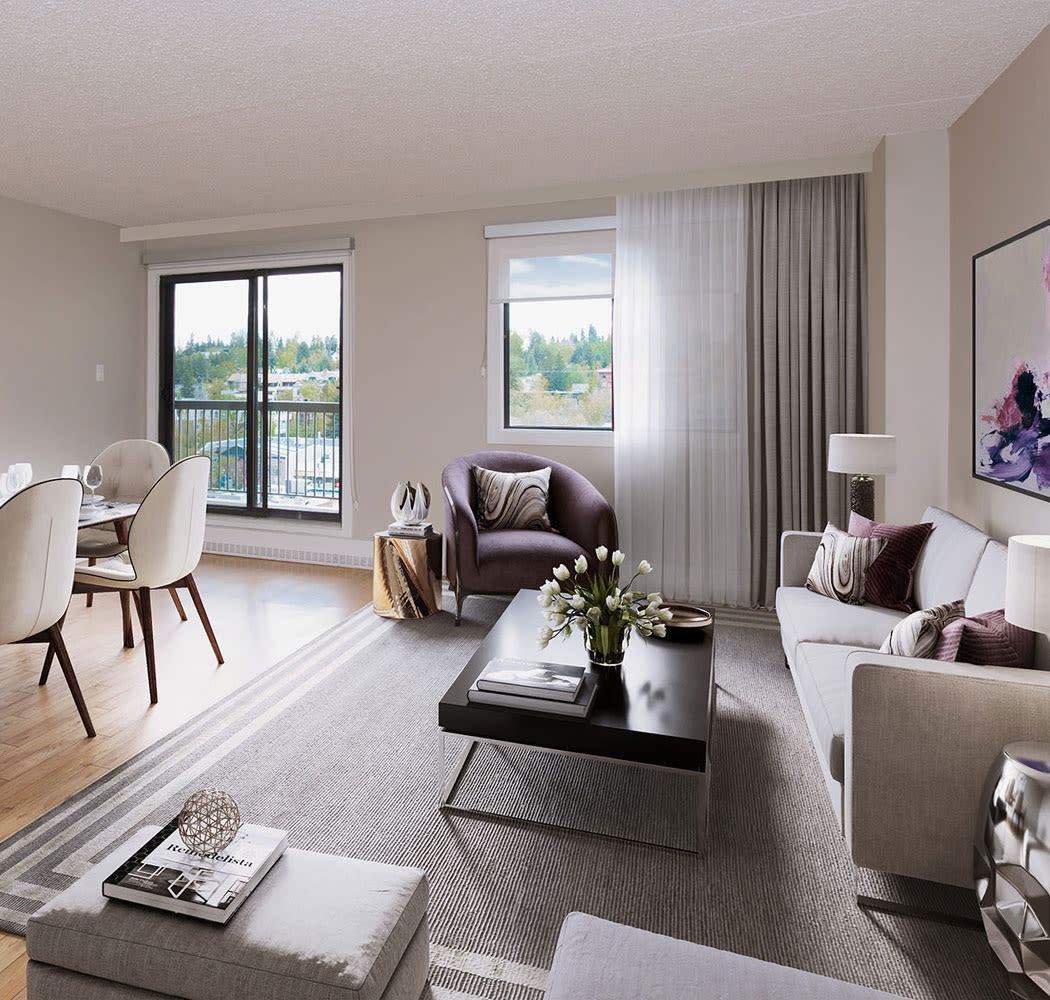 Spacious living room at Royal View Apartments in Calgary, Alberta