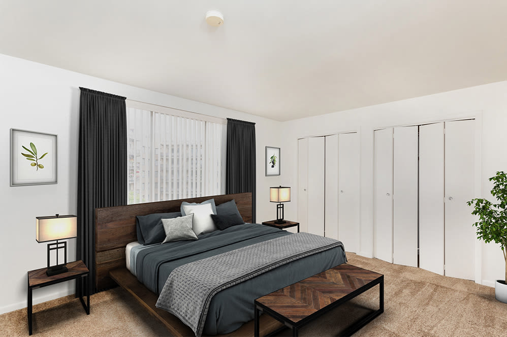 Spacious bedroom at apartments in Rochester, New York