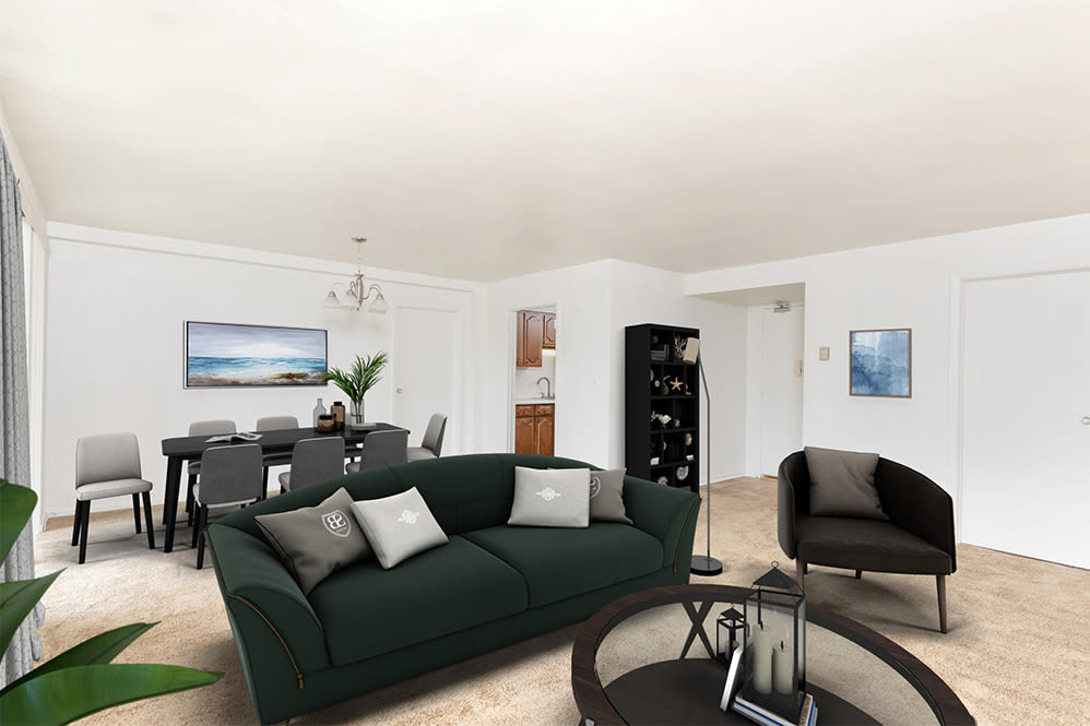Living room at apartments in Rochester, New York
