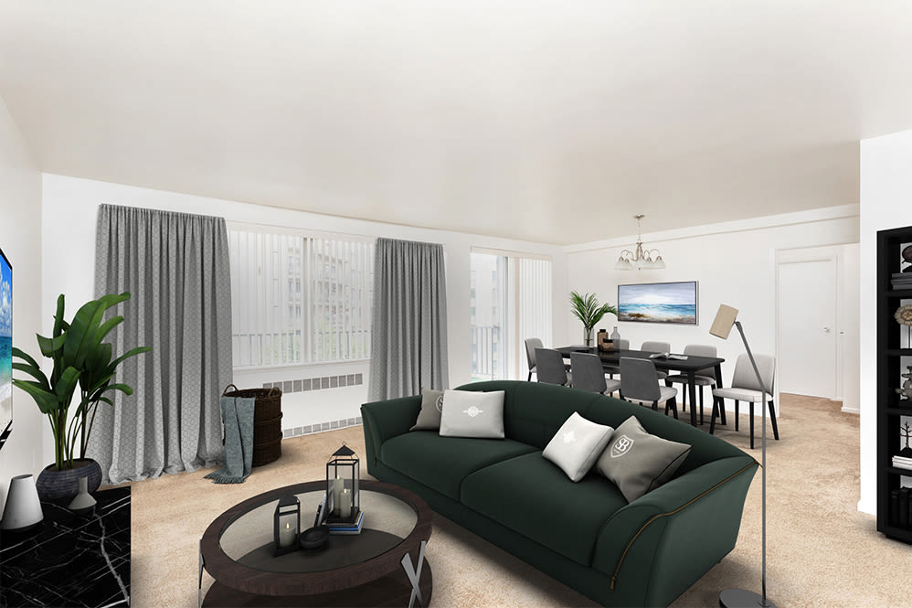 Spacious living room at apartments in Rochester, New York