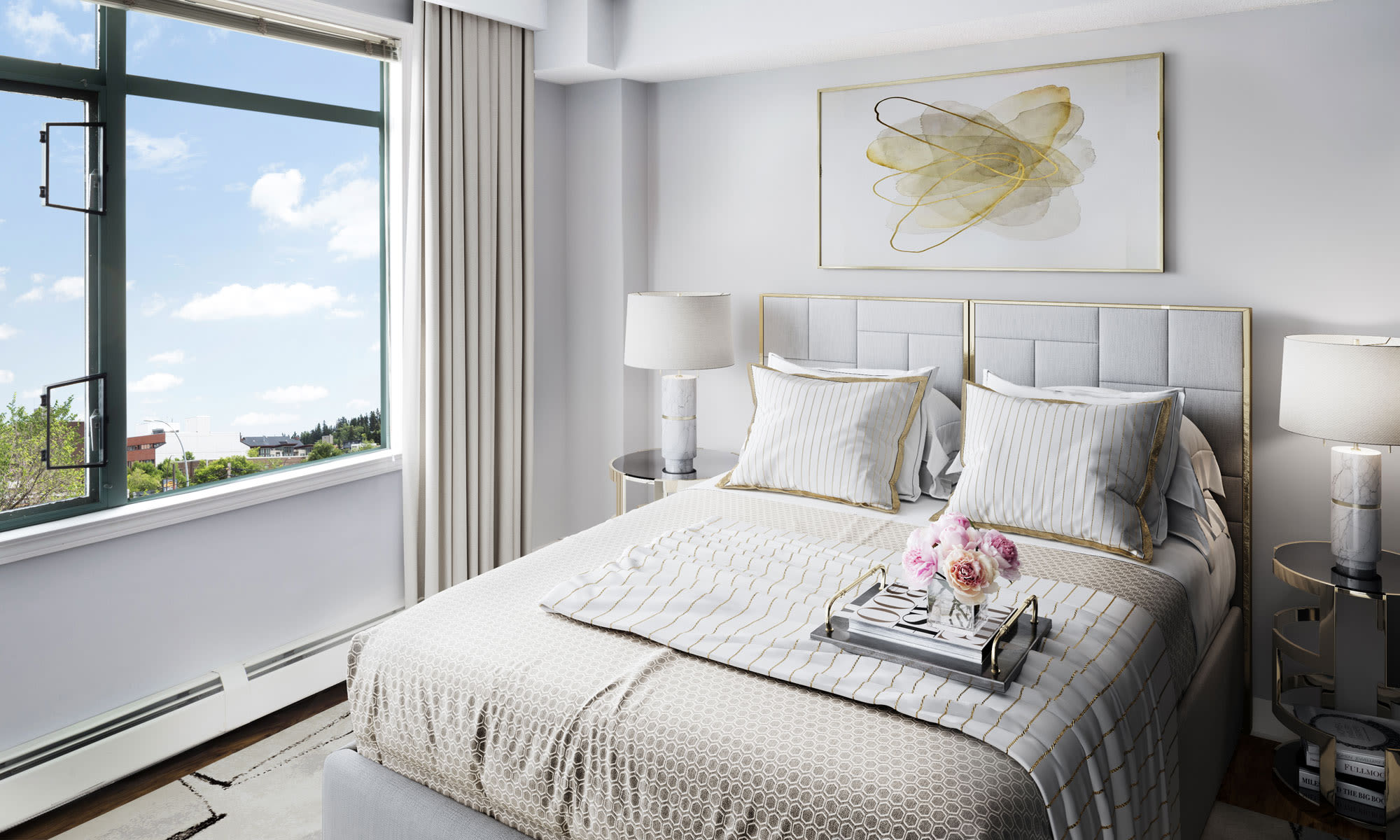 Discovery Pointe offers a naturally well-lit bedroom in Calgary, Alberta