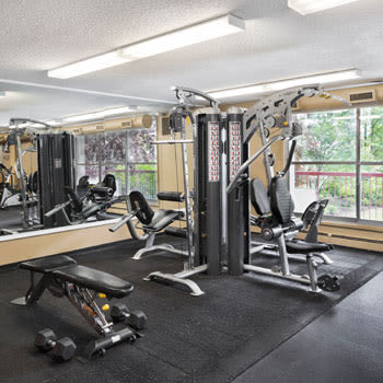 Fitness facilities at Calgary Place Apartments in Calgary