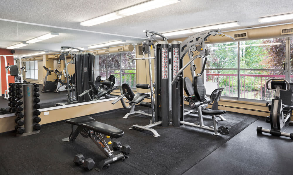 State-of-the-art fitness center at Calgary Place Apartments in Calgary, Alberta