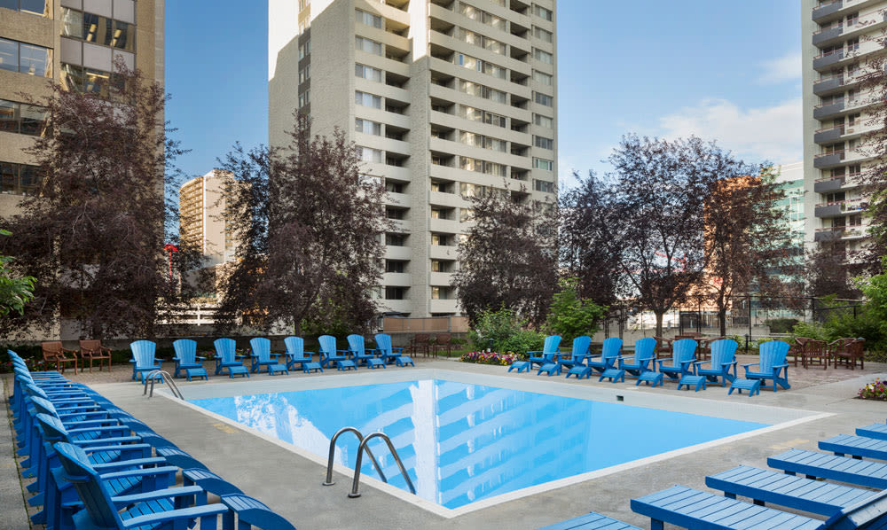 Beautiful swimming pool at Calgary Place Apartments in Calgary, Alberta
