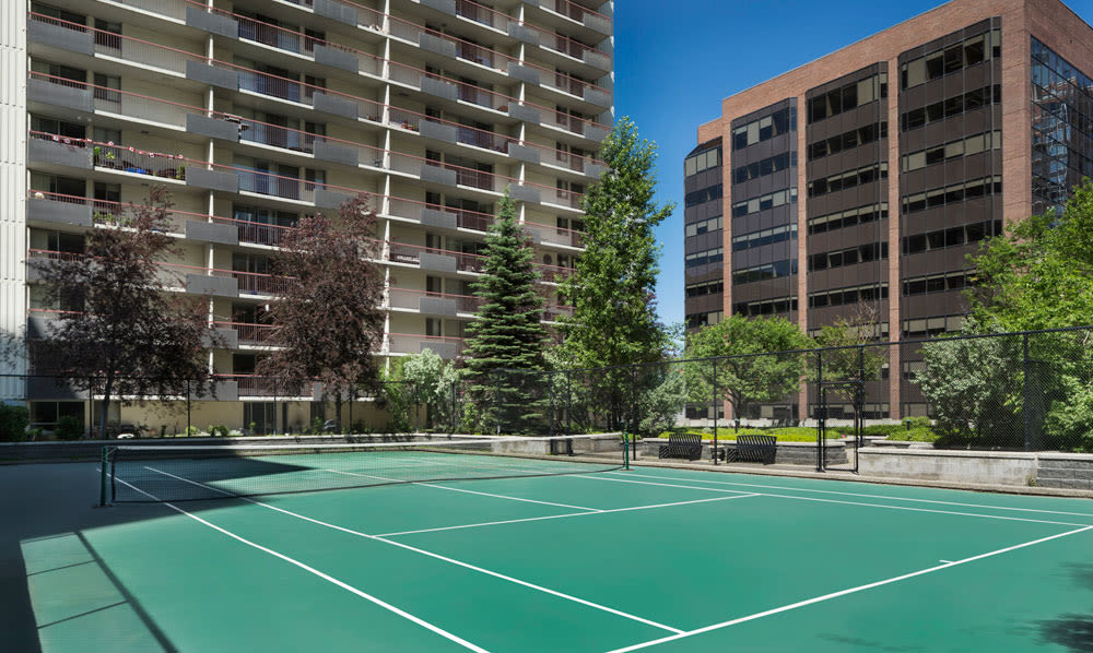 Tennis courts at Calgary Place Apartments in Calgary, AB