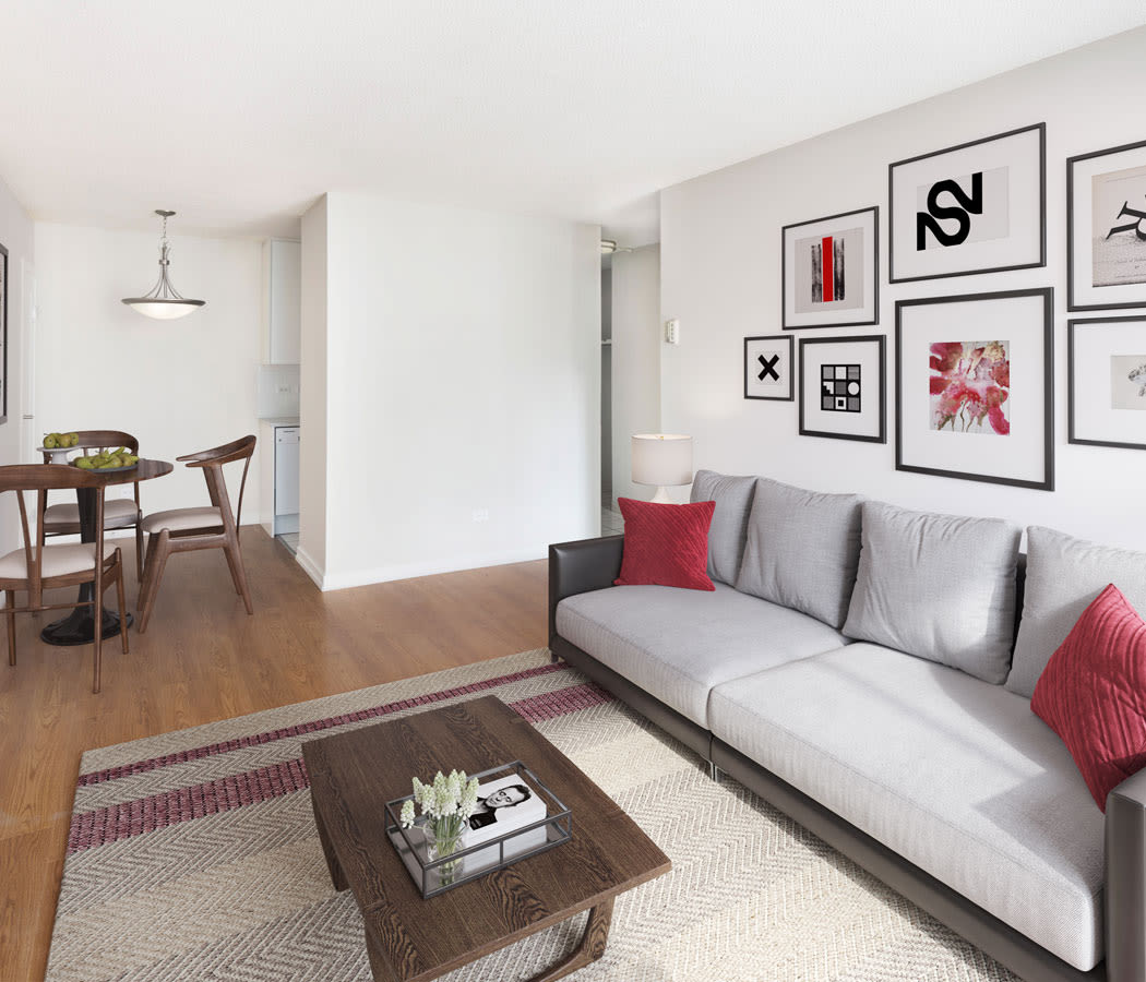 Large living room windows at Calgary Place Apartments in Calgary
