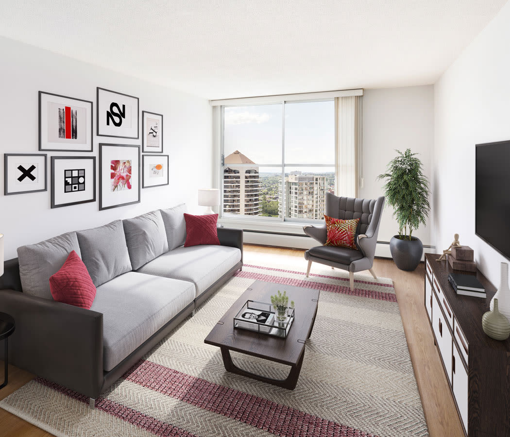 Beautiful living room at Calgary Place Apartments in Calgary