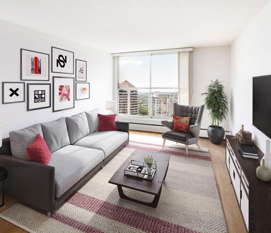 Beautiful living room at Calgary Place Apartments in Calgary