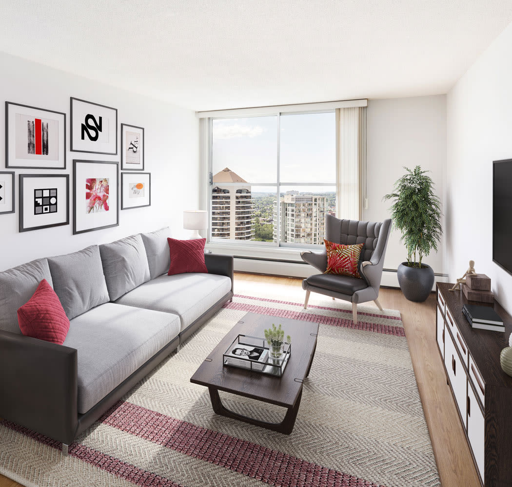 Beautiful living room at Calgary Place Apartments in Calgary, Alberta