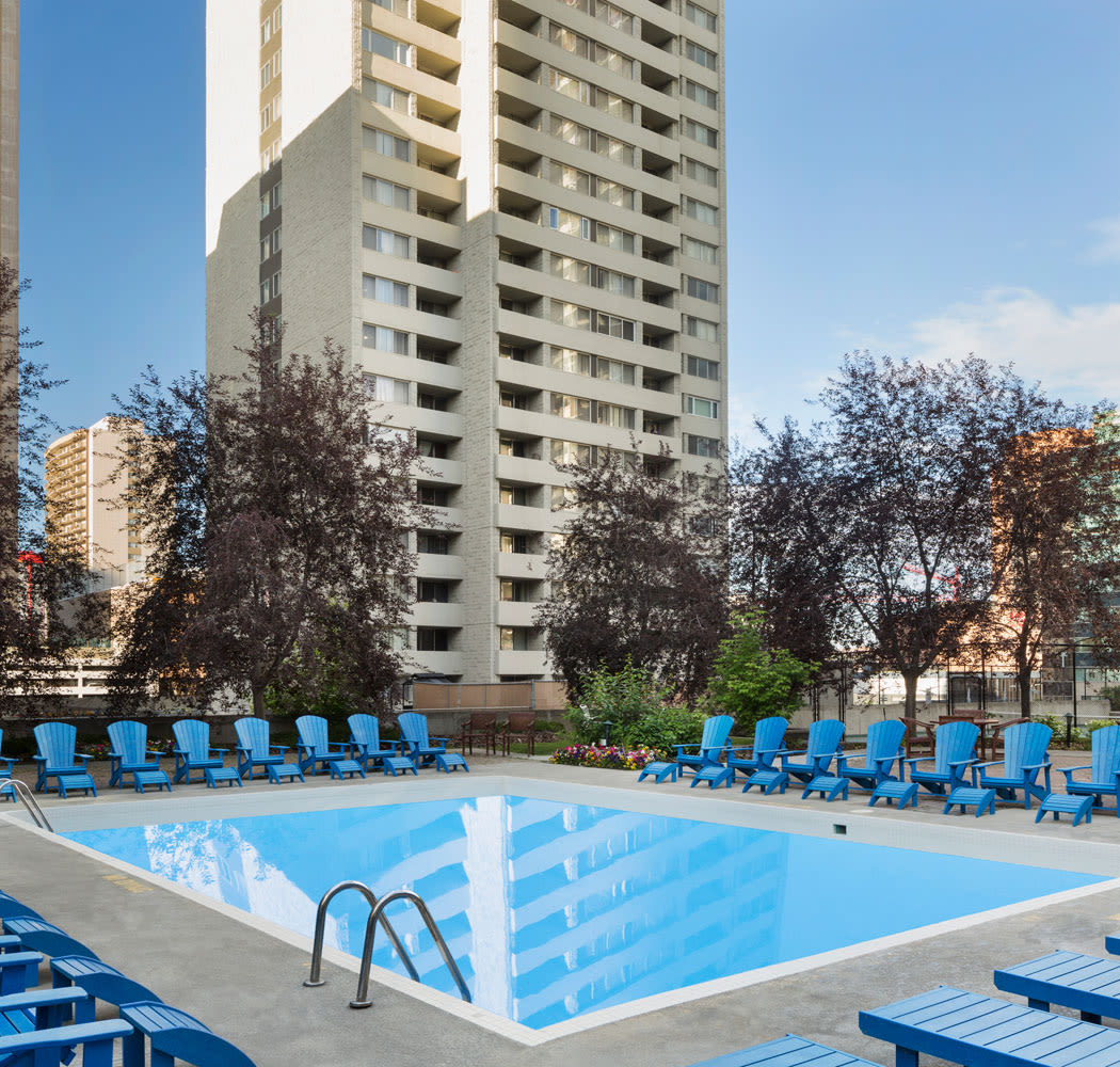 Enjoy apartments with a swimming pool at Calgary Place Apartments