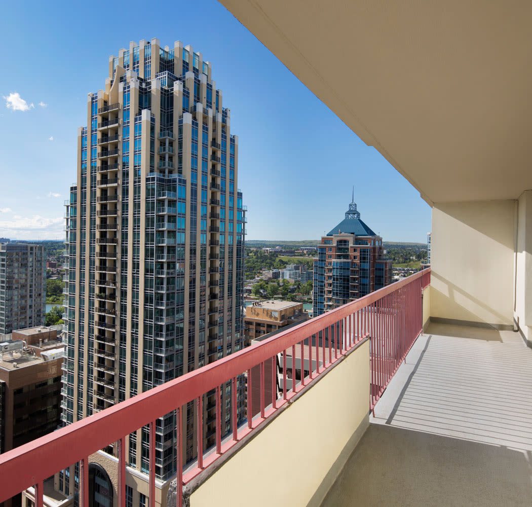 Private balcony at Calgary Place Apartments in Calgary
