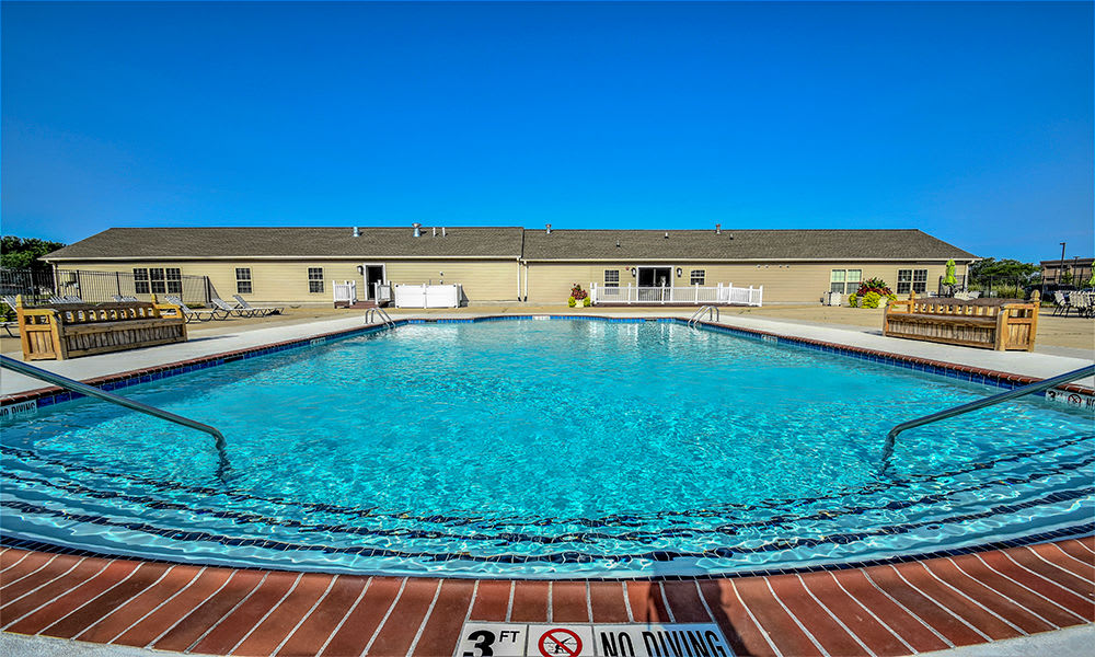 Sparkling swimming pool at The Lakes at 8201 in Merrillville, Indiana