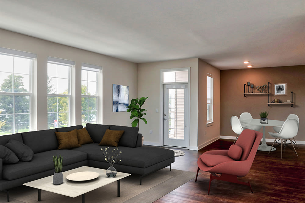 Cozy living room at Pinnacle North Apartments in Canandaigua, New York
