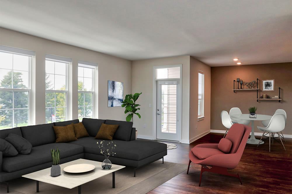 Cozy living room at Pinnacle North Apartments in Canandaigua, NY