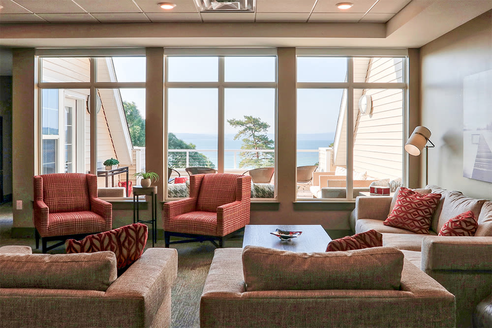Naturally well-lit clubhouse at apartments in Canandaigua, New York