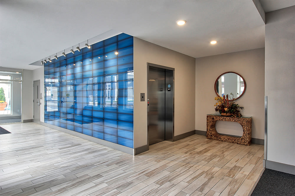 Modern entryway at apartments in Canandaigua, New York