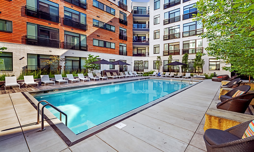 Modern swimming pool at Eastside Bond Apartments in Pittsburgh, PA