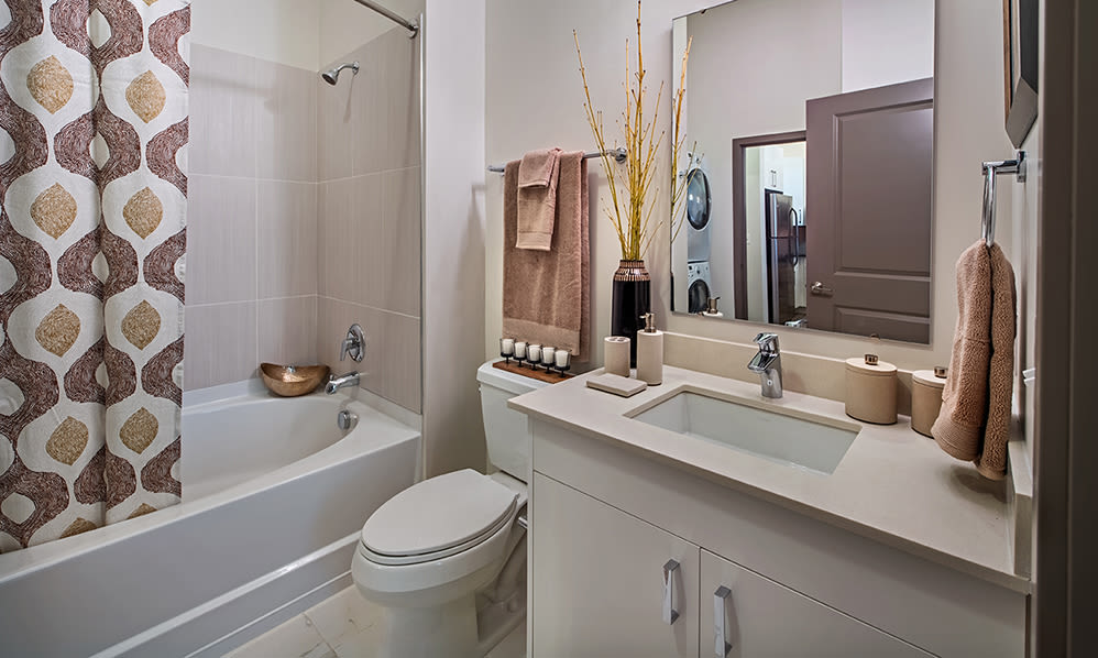 Luxury bathroom at Eastside Bond Apartments in Pittsburgh, PA