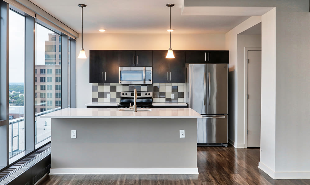Modern kitchen at apartments in Rochester, New York