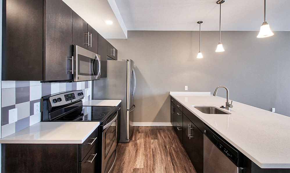 A kitchen that is great for entertaining at apartments in Rochester, New York