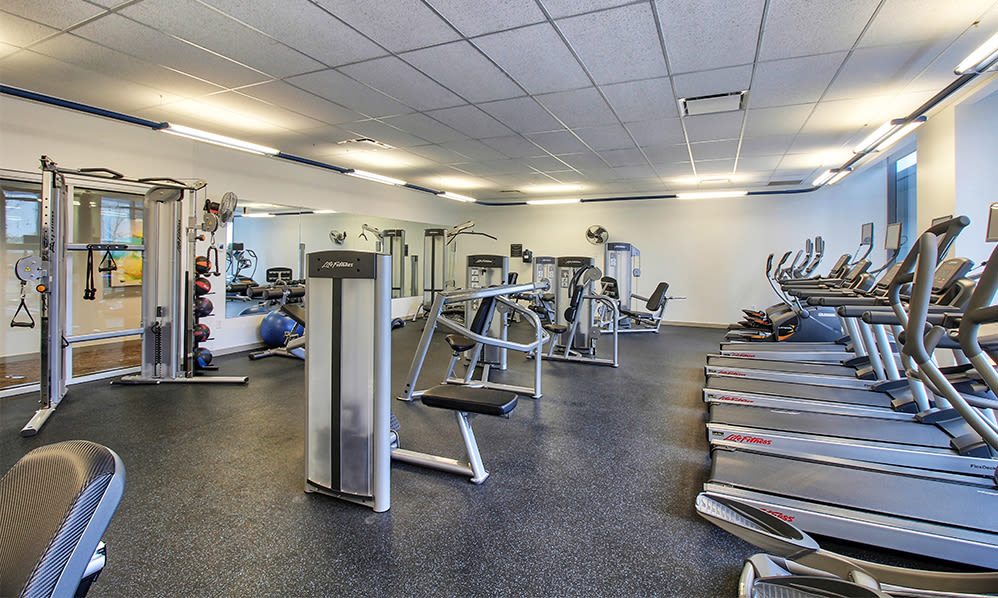 Fitness center at apartments in Rochester, New York