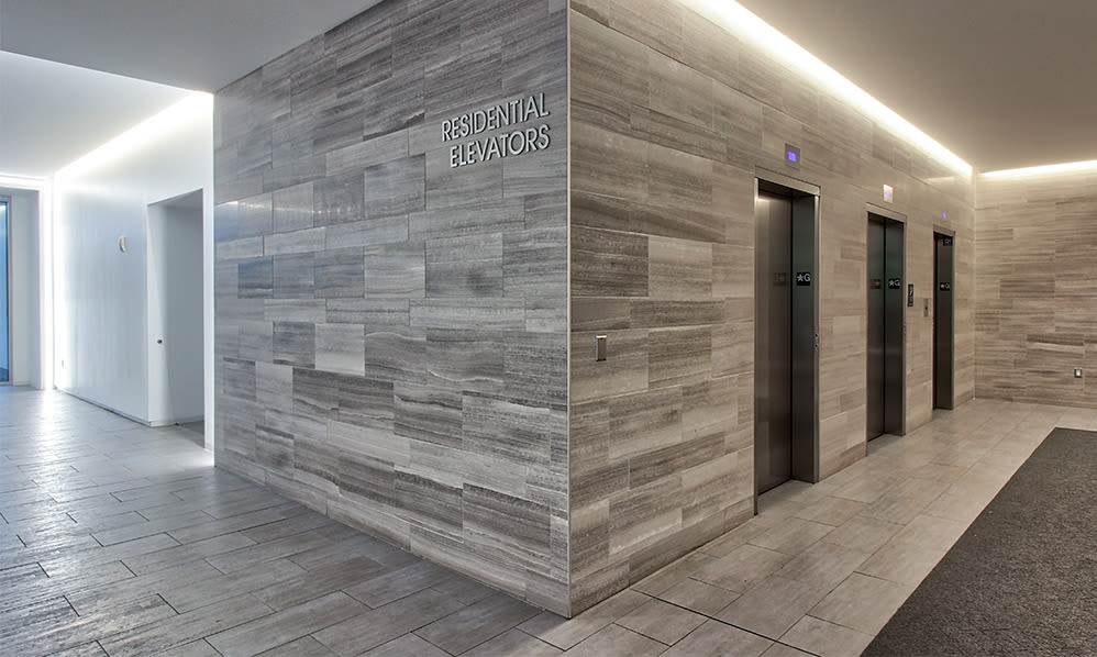Modern entryway at apartments in Rochester, New York