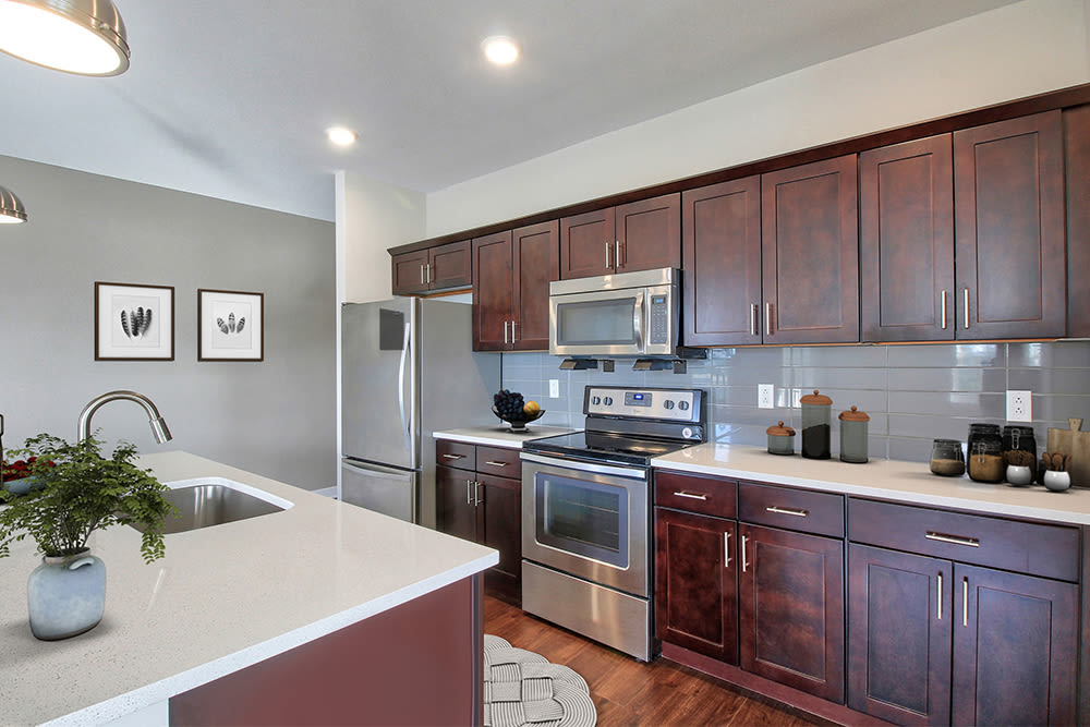 Modern kitchen at apartments in Canandaigua, New York