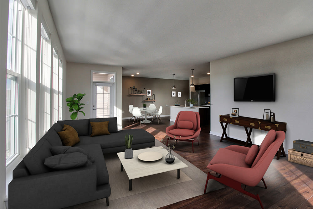 A living room that is great for entertaining at apartments in Canandaigua, New York