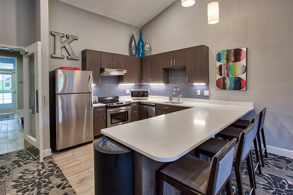 Luxury community kitchen at apartments in Aliquippa, Pennsylvania
