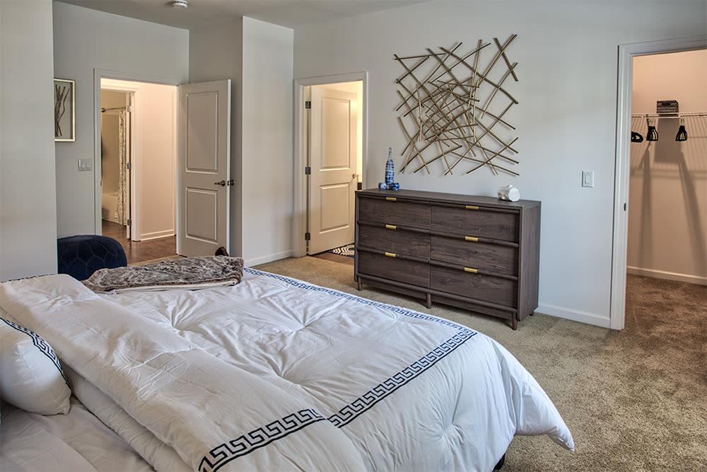 Modern bedroom at The Kane at Gray's Landing in Aliquippa, Pennsylvania
