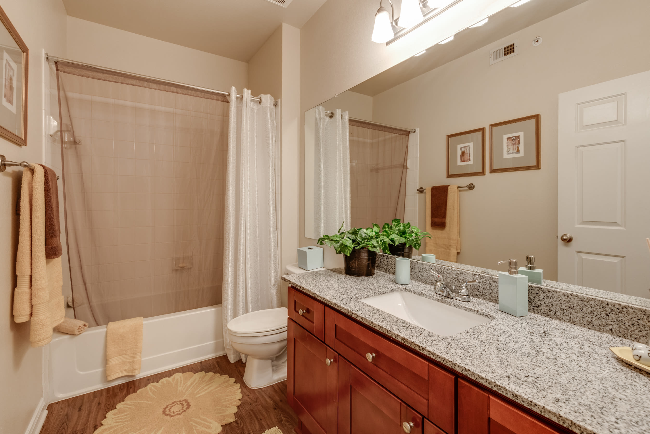 Spacious master bedroom in model home at The View at Lakeside in Lewisville, Texas