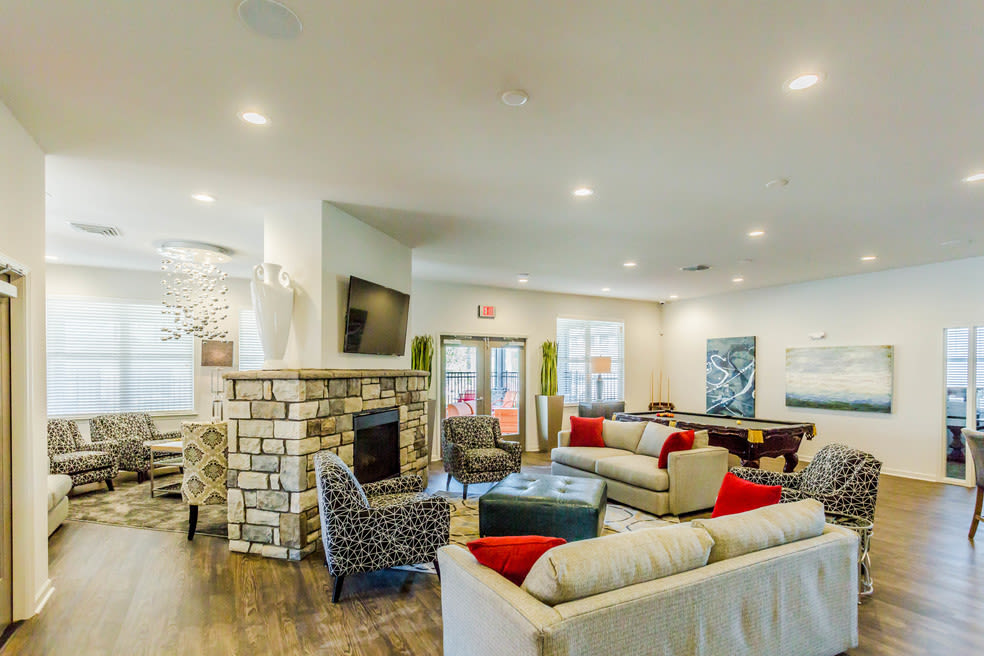 Fireside seating in the clubhouse at Landmark Apartments in Little Rock, Arkansas