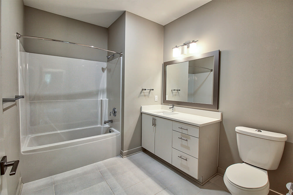 Modern bathroom at apartments in Rochester, New York