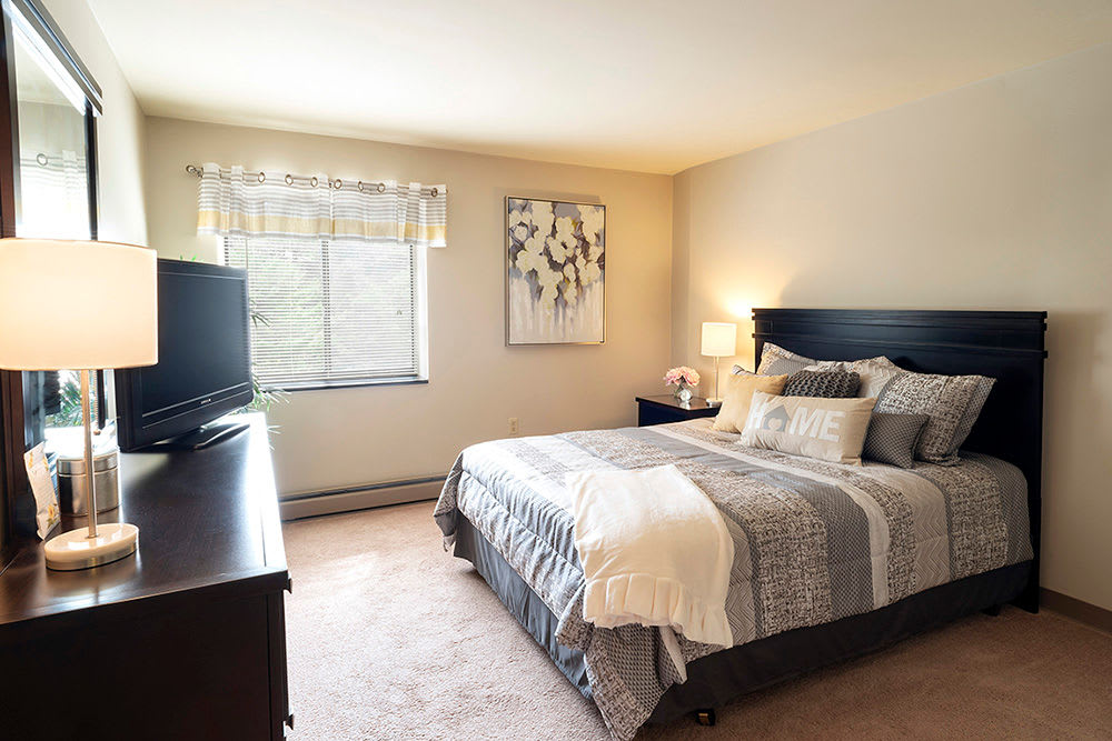 Cozy bedroom at apartments in Pittsburgh, Pennsylvania