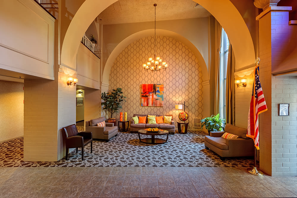 Seating area at Maiden Bridge & Canongate Apartments in Pittsburgh, Pennsylvania