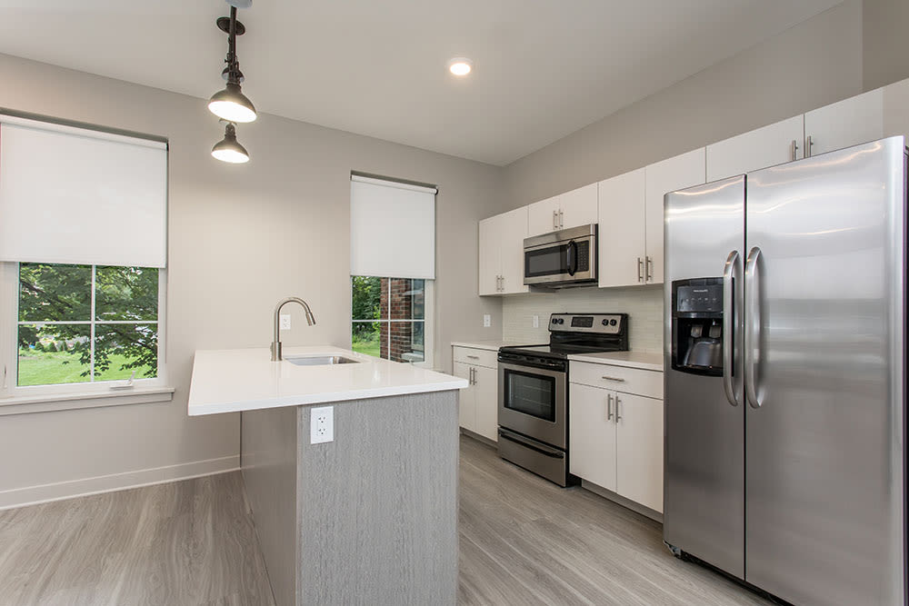 Modern kitchen at 933 the U home in Rochester, New York