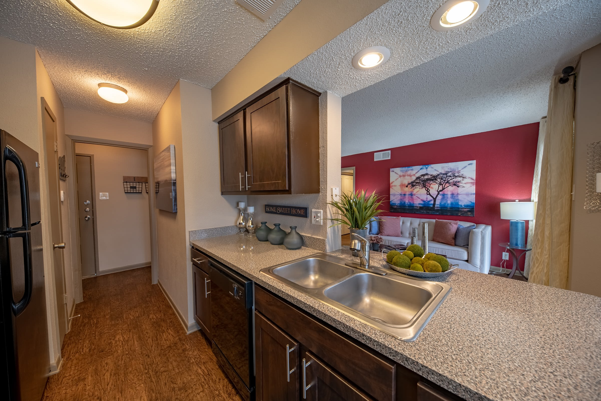 Clubhouse kitchen and sitting area view at Ridgeview Place in Irving, Texas