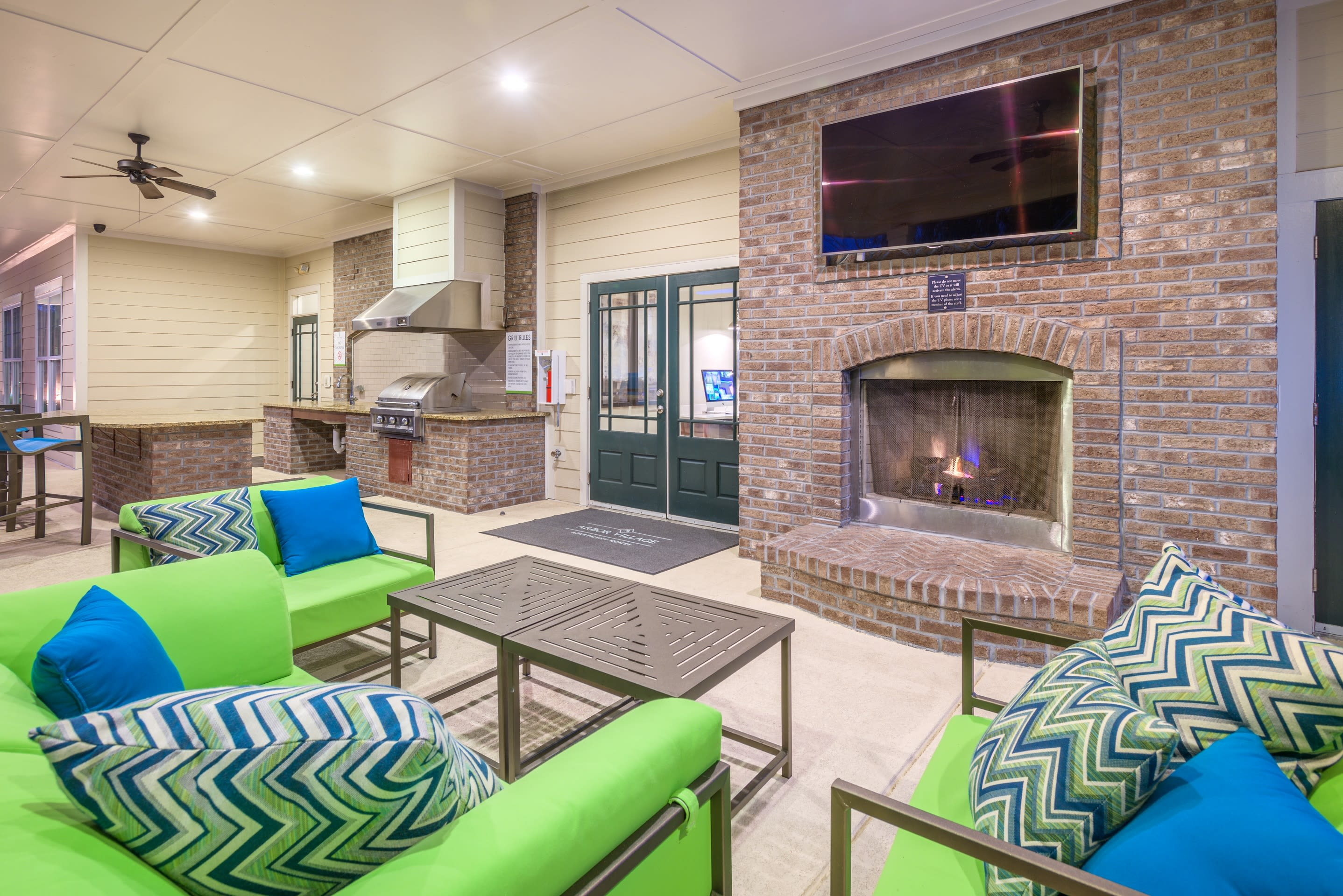 Clubhouse with outdoor furniture at Arbor Village in Summerville, South Carolina
