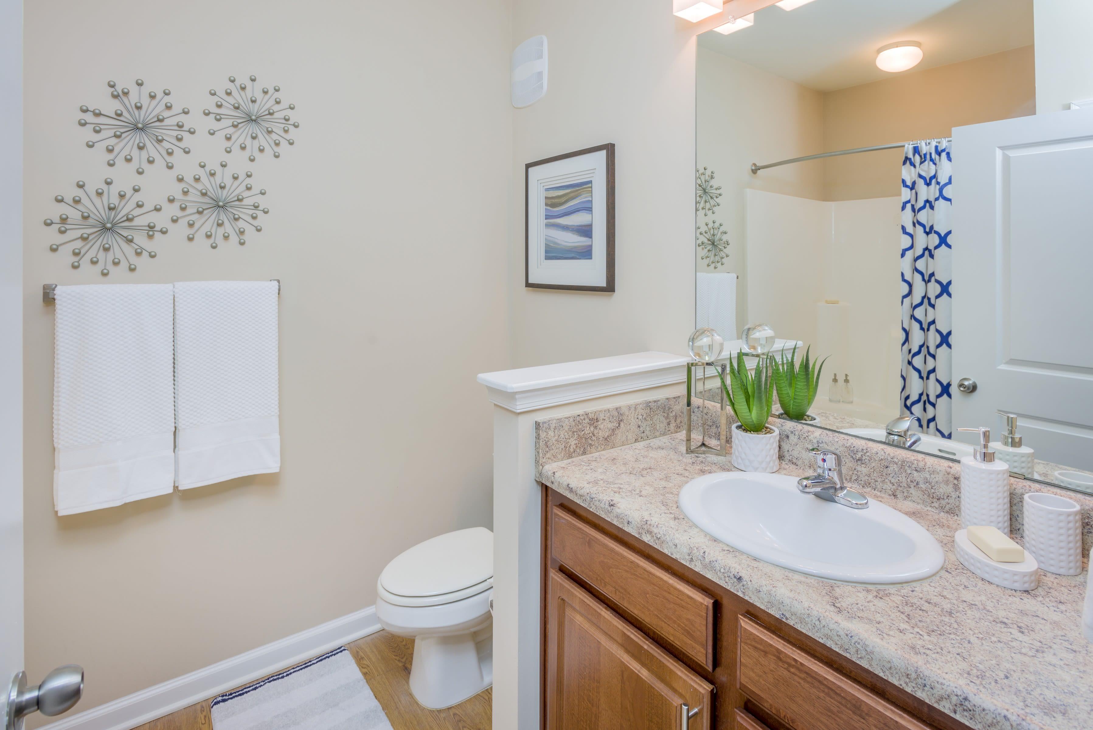Quaint half bathroom with granite countertops at Arbor Village in Summerville, South Carolina