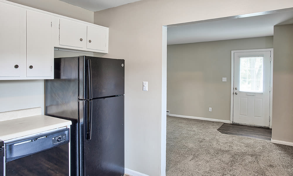 Kitchen with white cabinets at The Summit at Ridgewood in Fort Wayne, Indiana